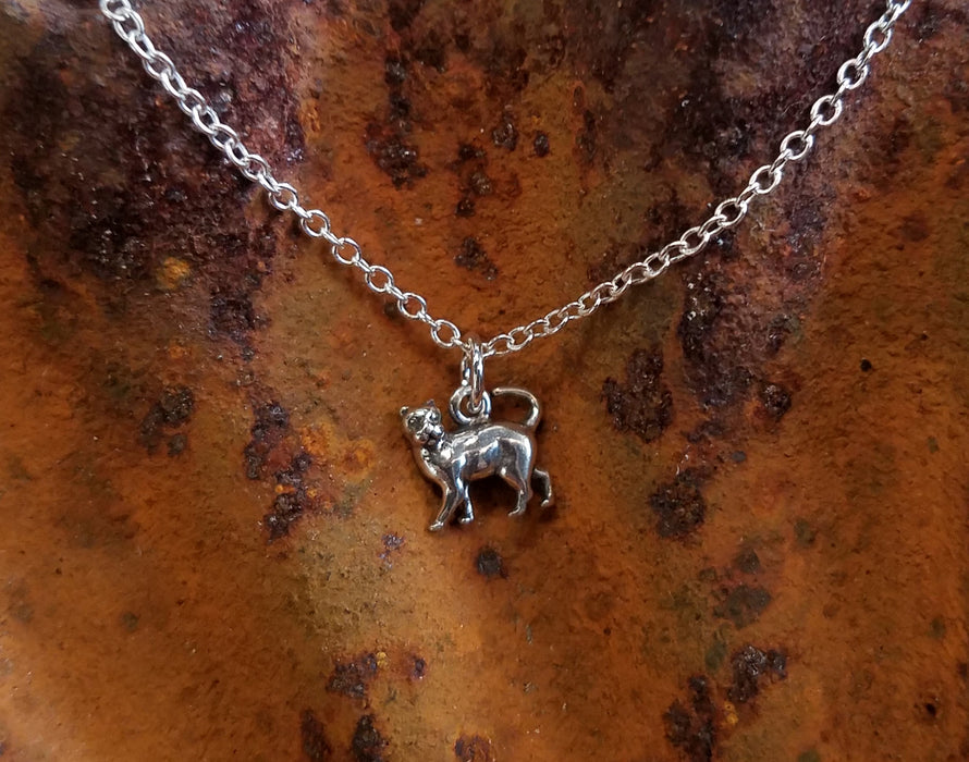 Kitty Walking Cat in Sterling Necklace
