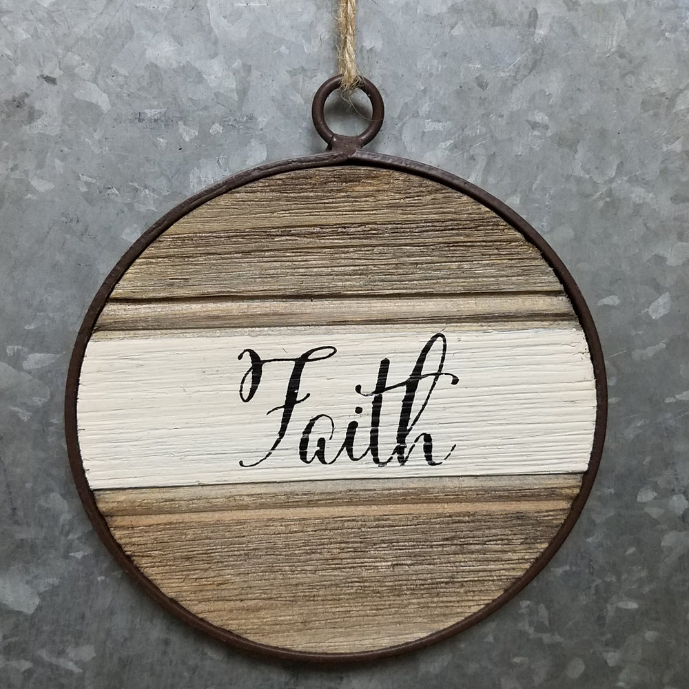 Faith Metal Framed Round Message Ornament