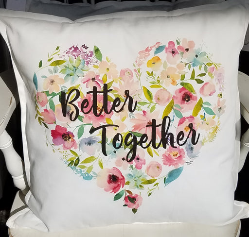 Better Together Floral Heart Pillow