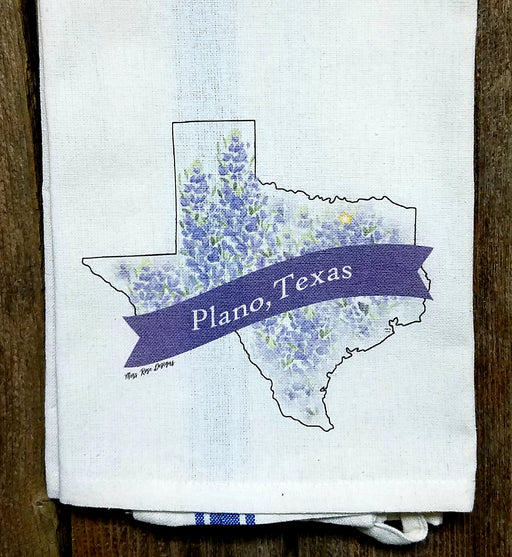 Plano Texas Bluebonnet Kitchen Towel