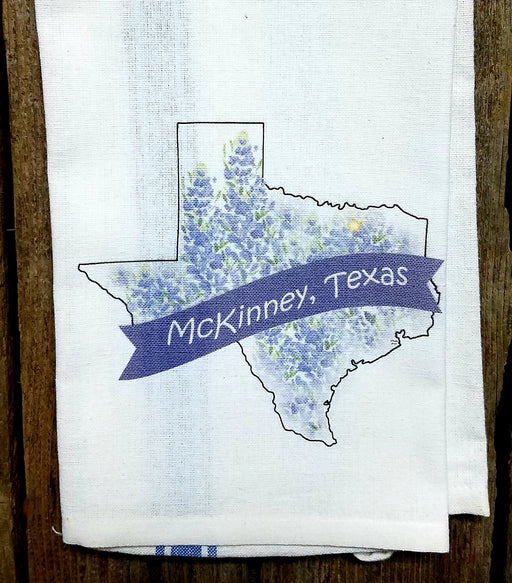 McKinney Texas Bluebonnet Kitchen Towel