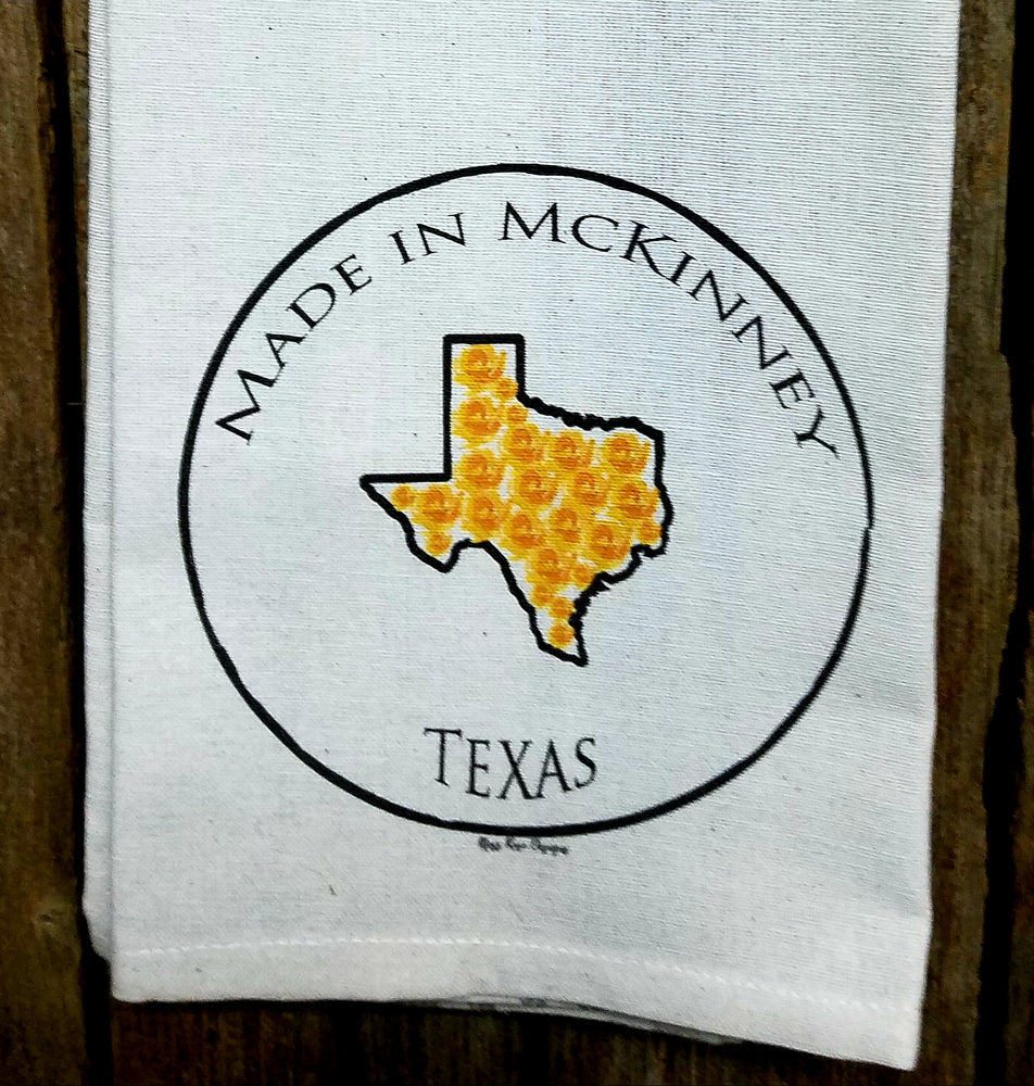 Made in McKinney Texas Yellow Rose Kitchen Towel