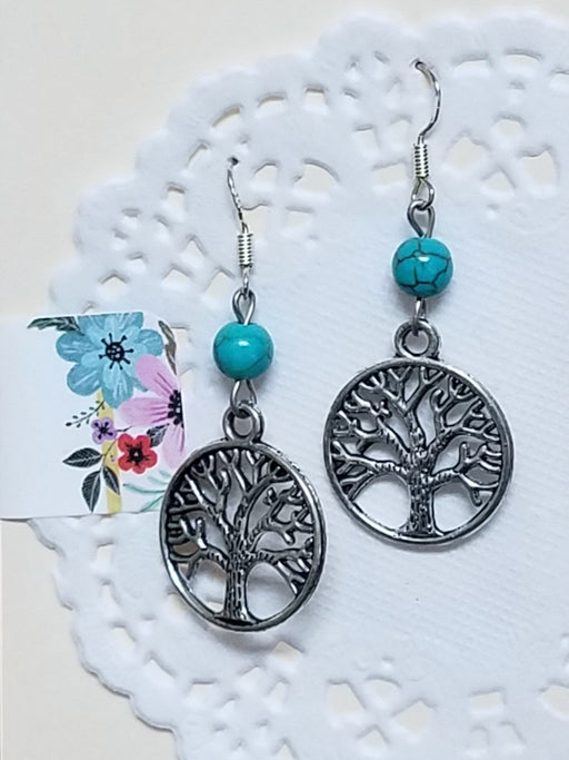Tree of Life Turquoise Silver Dangle Drop Earrings