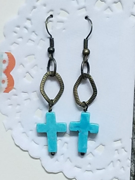 Cross & Bronze Dangle Beaded Earrings
