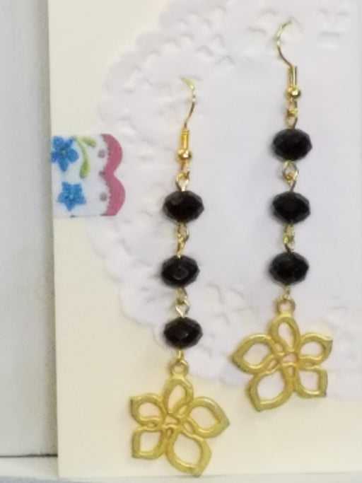 Flowers with Black Bead Dangle Earrings