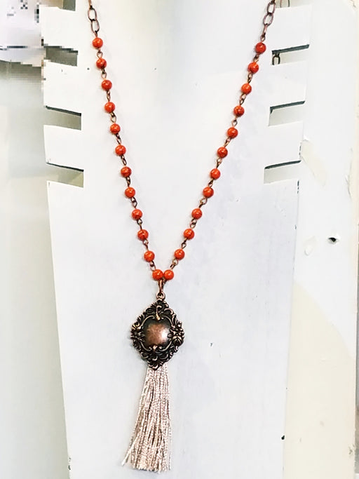 Copper Tassel French Charm Necklace