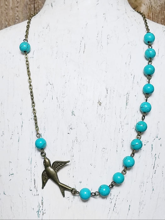 Swallow in Bronze Turquoise Bead Accent Necklace