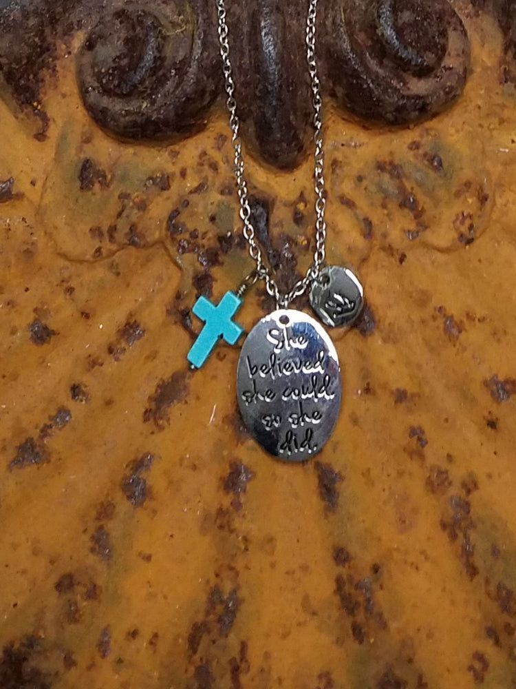 She Believed She Could So She Did Charm Cross Necklace