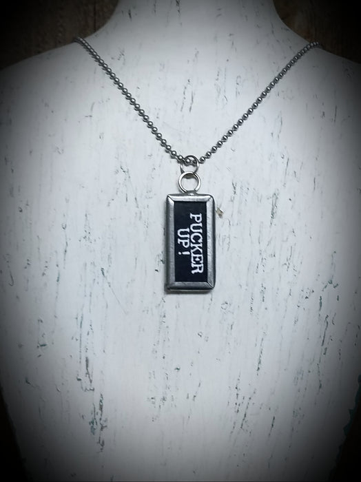 Pucker Up Tile Charm Silver Necklace