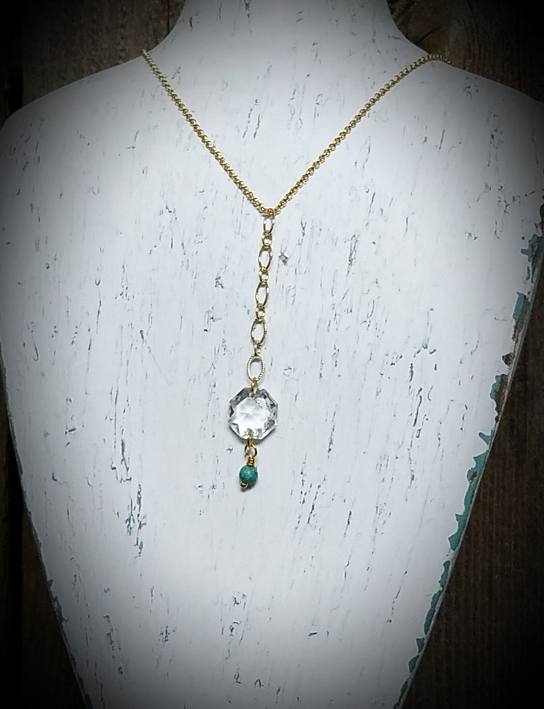 Crystal and Turquoise GPS Lariat Necklace