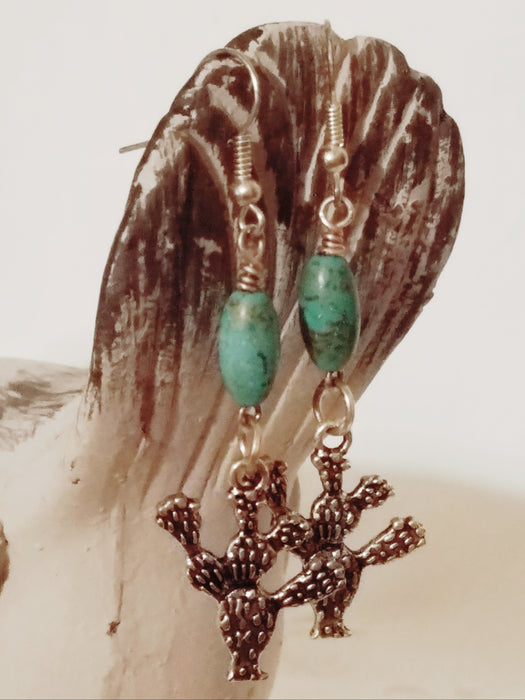 Turquoise Cactus Dangle Earrings