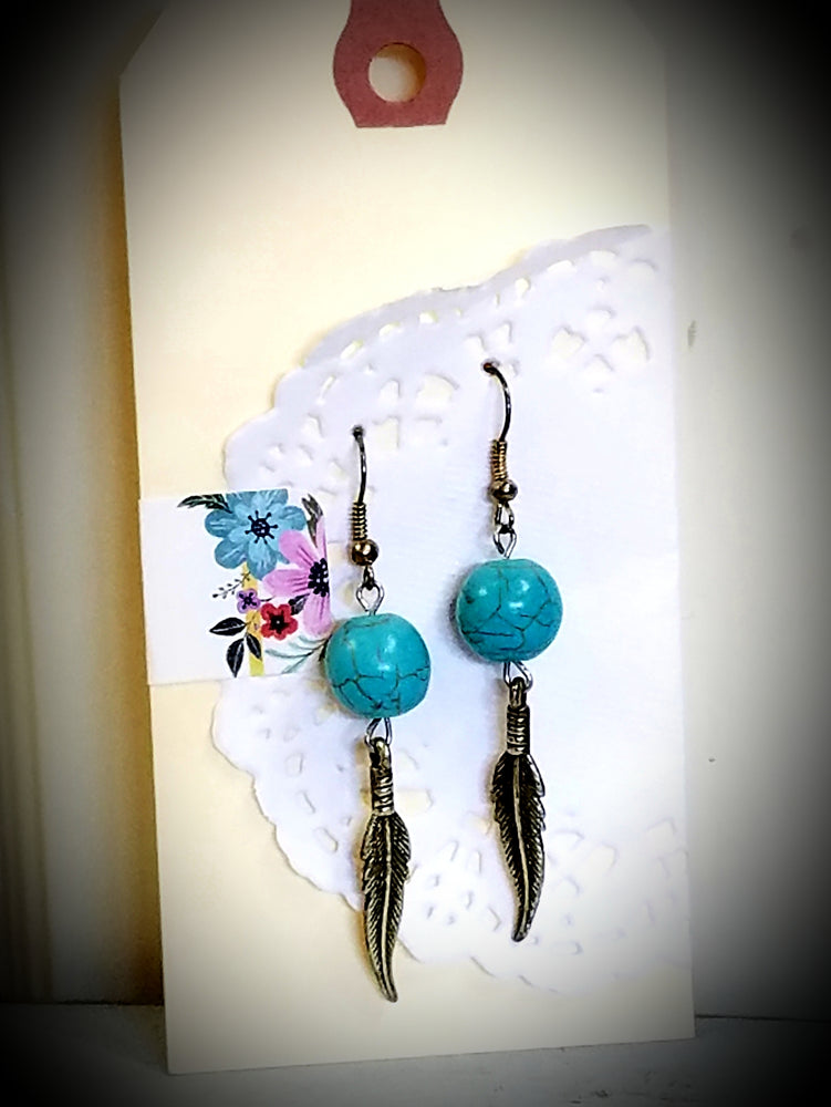 Bronze Feathers with Turquoise Accent Handmade Earrings