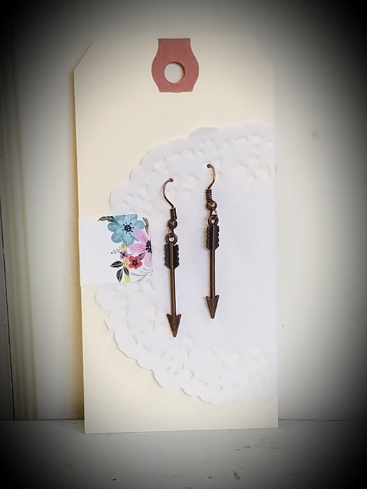 Copper Arrow Dangle Handmade Earrings