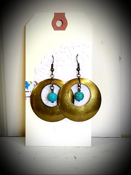 Bronze & Turquoise Dangle Classic Beaded Earrings