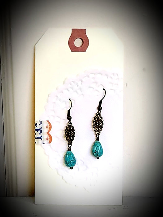 Floral Tear Drop Dangle Beaded Earrings