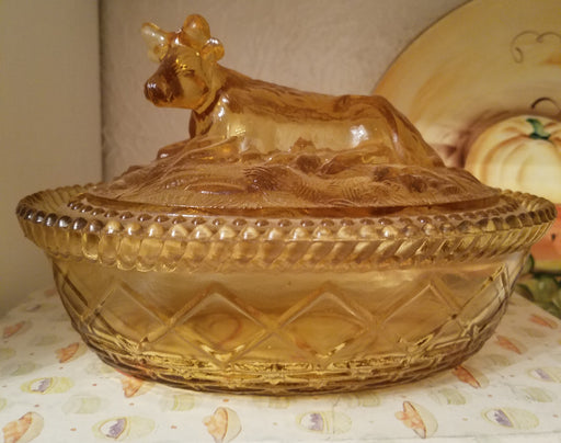 Vintage Amber Kemple Glass Cow on Nest Covered Dish
