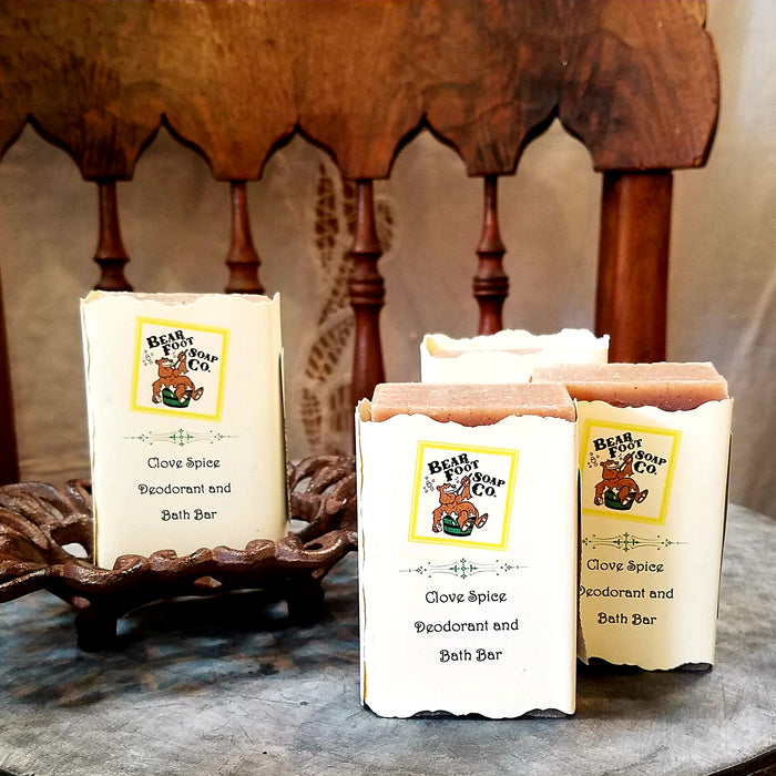 Clove Spice Deodrant Hand crafted Soap by Bear Foot Soap Co