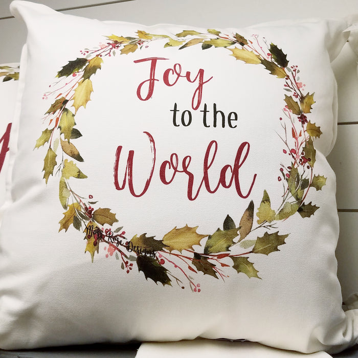 Joy to the World Holly Garland Wreath Pillow