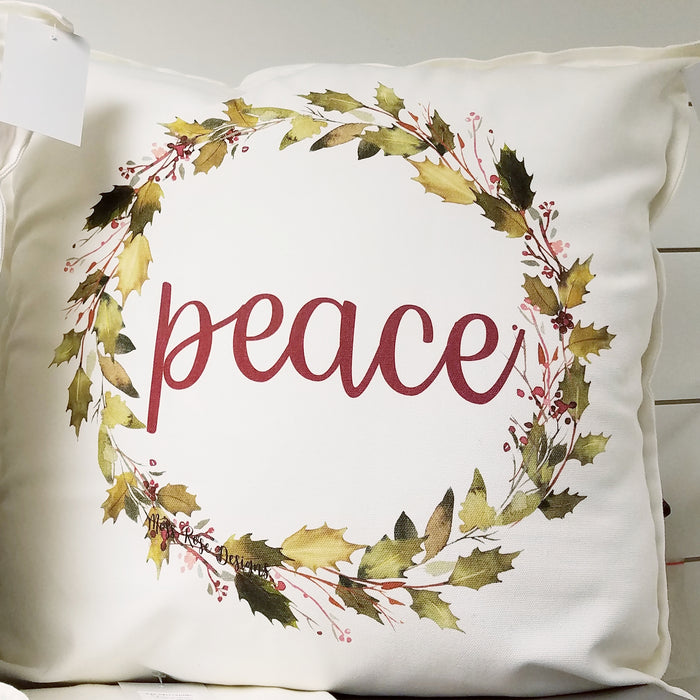 Peace Holly Garland Wreath Pillow