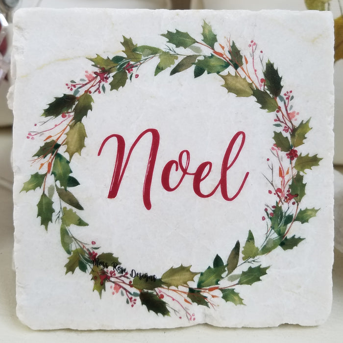 Noel Holly Garland Wreath Marble Coaster