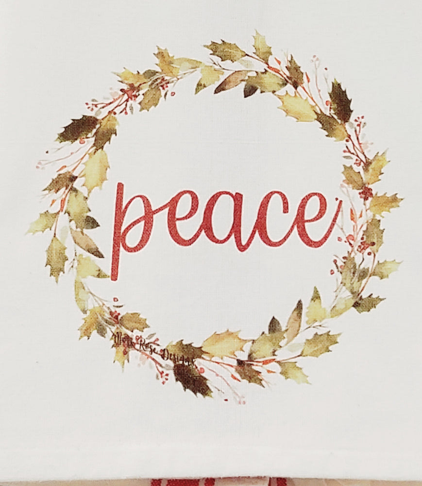 Peace Holly Garland Wreath Kitchen Towel