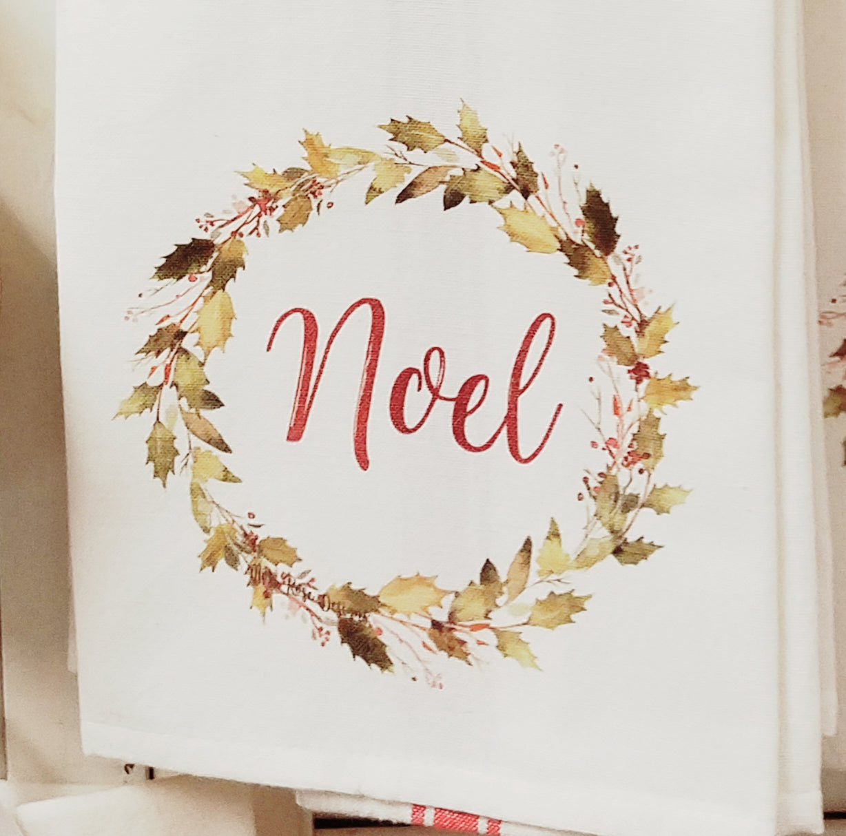 Noel Holly Garland Wreath Kitchen Towel