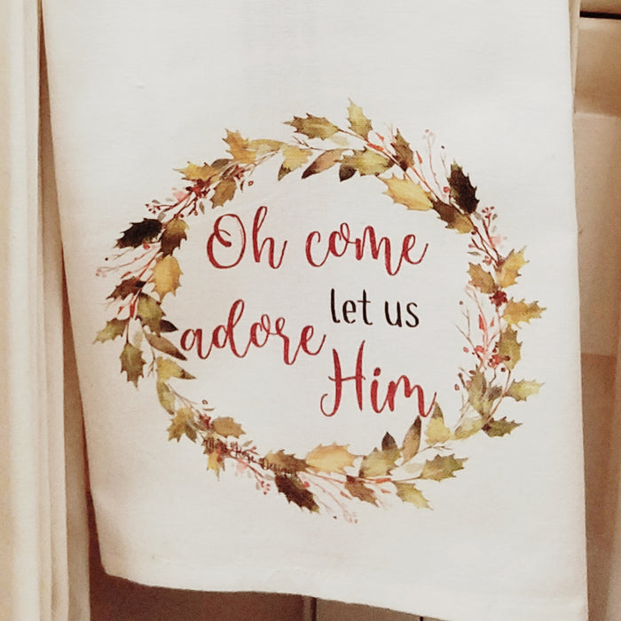 Oh Come Let Us Adore Him Holly Garland Wreath Kitchen Towel
