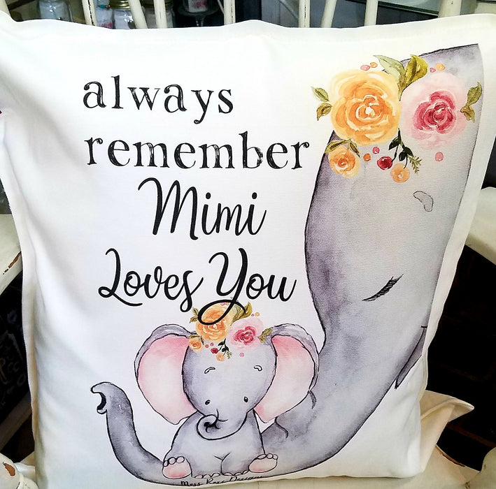 Always Remember Mimi Loves You Floral Pillow