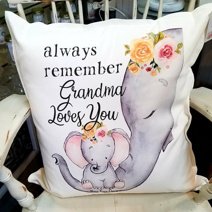 Always Remember Grandma Loves You Floral Pillow
