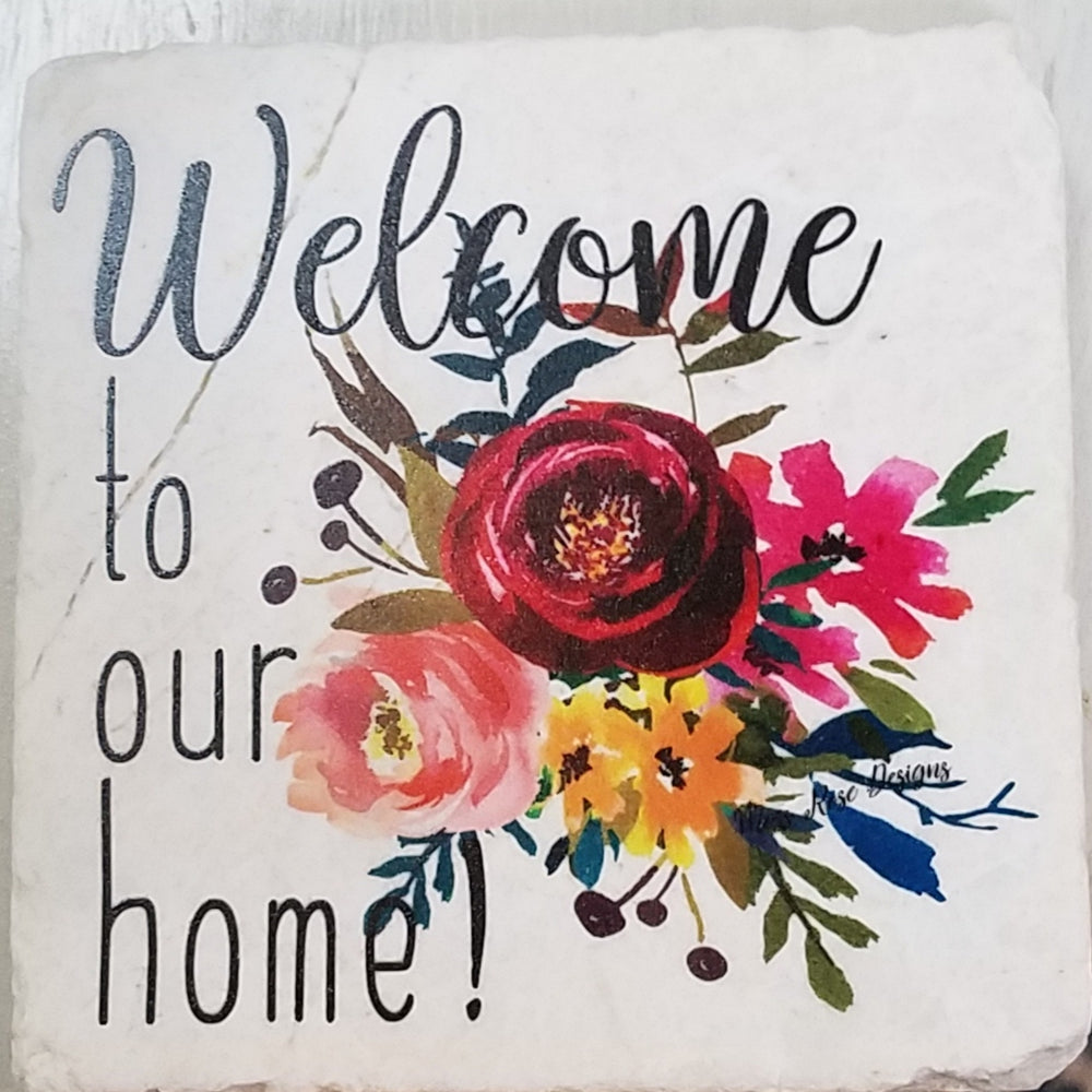 Welcome To Our Home Marble Coaster