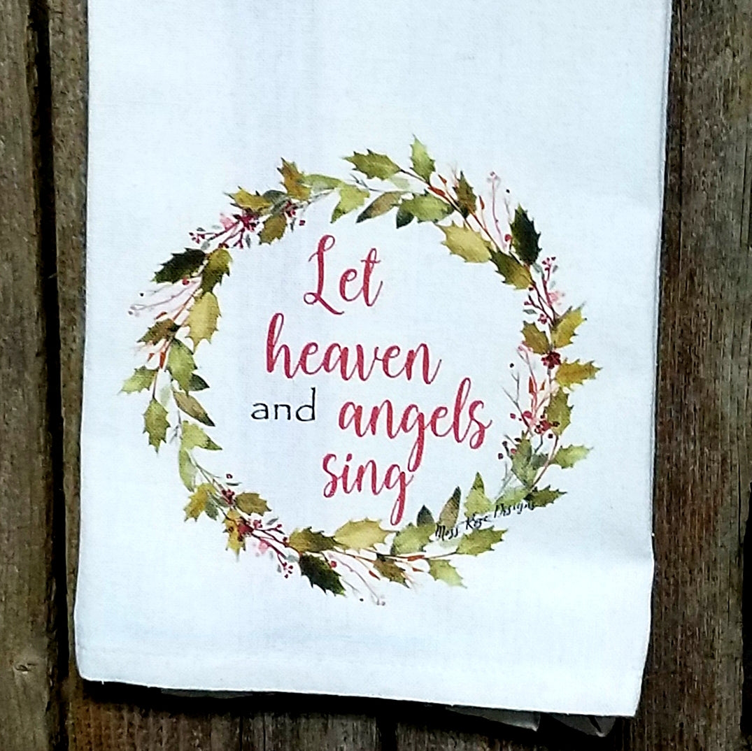 Let Heaven and Angels Sing Holly Garland Wreath Kitchen Towel