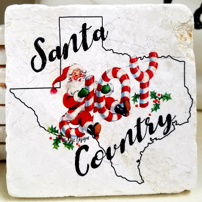 Moss Rose Santa Country Marble Coaster