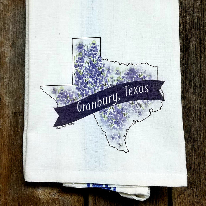 Granbury Texas Bluebonnet Kitchen Towel