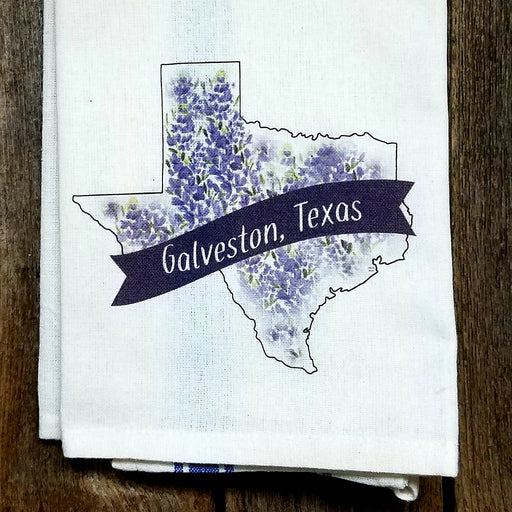 Galveston Texas Bluebonnet Kitchen Towel