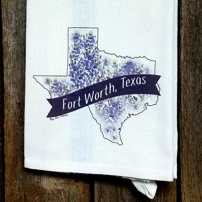 Fort Worth Texas Bluebonnet Kitchen Towel