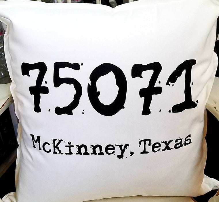75071 McKinney Texas Zip Code Pillow