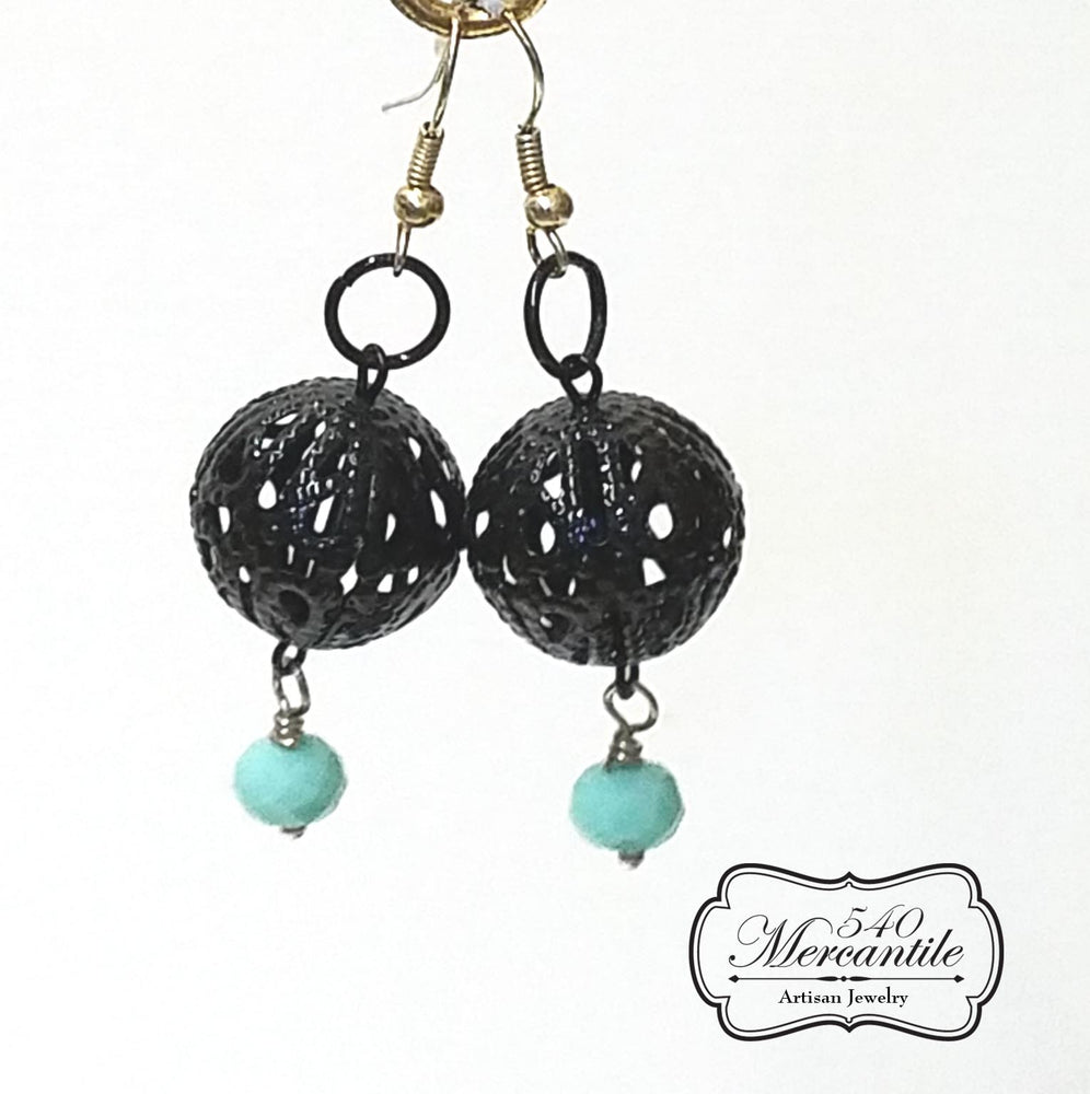 Black Filigree Focal with Turquoise Drop Dangle Beaded Earrings