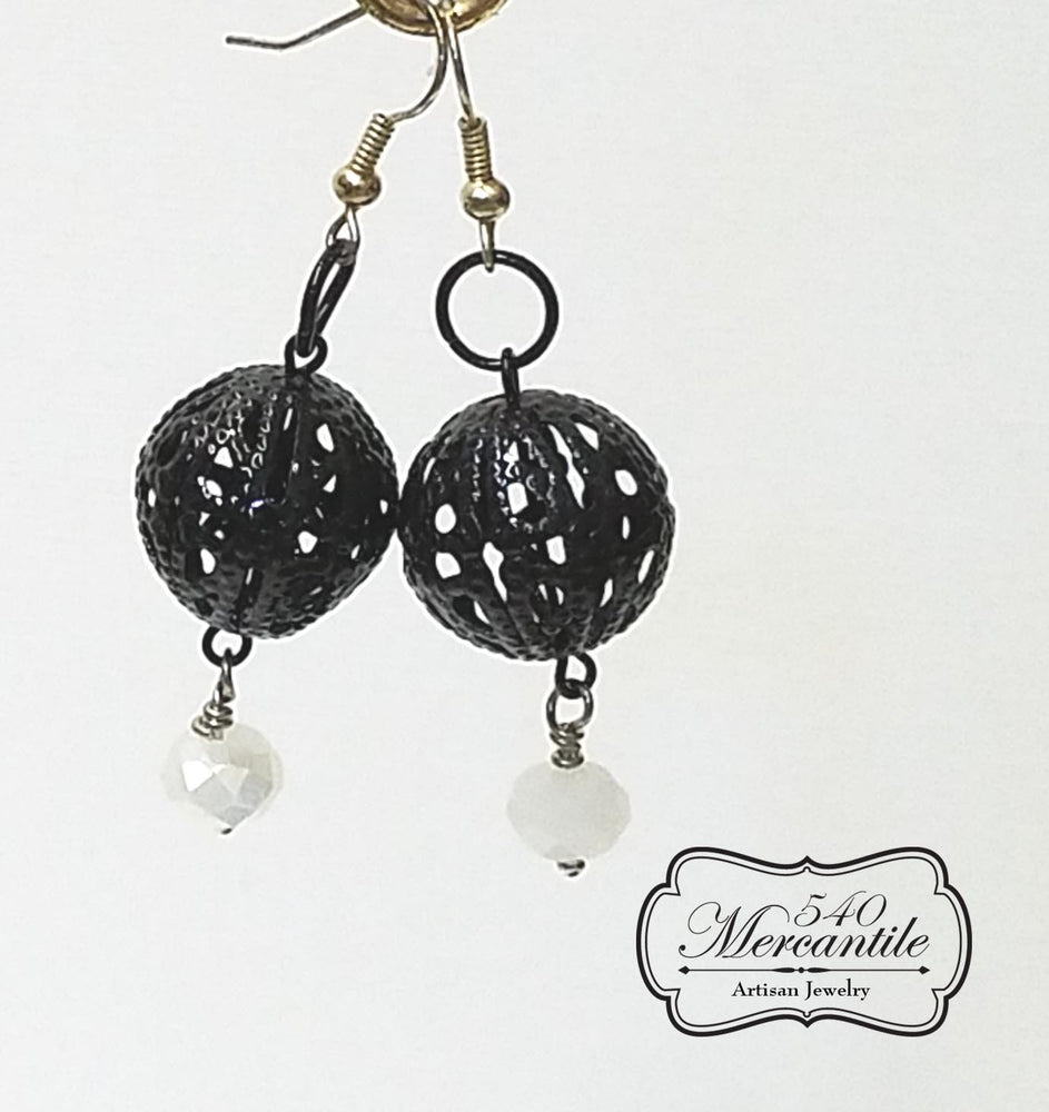 Black Filigree Focal with White Drop Dangle Beaded Earrings