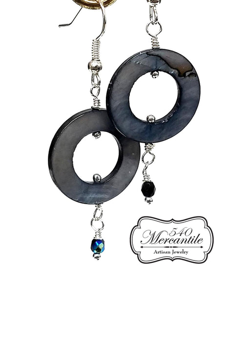 Black Blue Mother of Pearl Circle with Silver and Czech Beaded Earrings