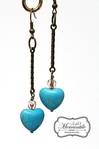 Turquoise Hearts Beaded Dangle Earrings