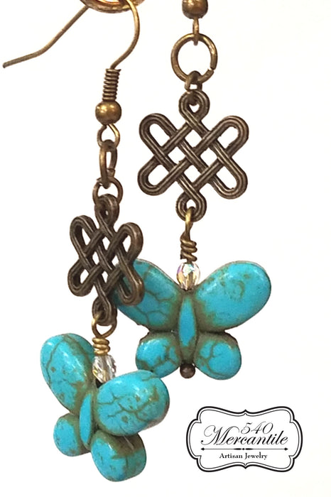 Bronze Knot Magnesite Butterfly  Dangle Classic Beaded Earrings