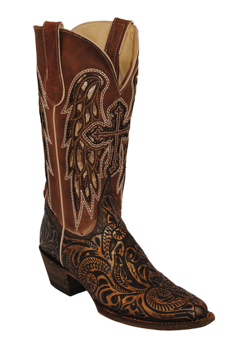Ferrini Ladies Embossed Angel V-toe Western Boots