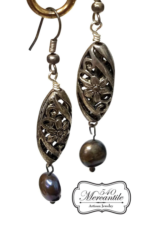 Blue Black Freshwater Pearl Dangle Earrings