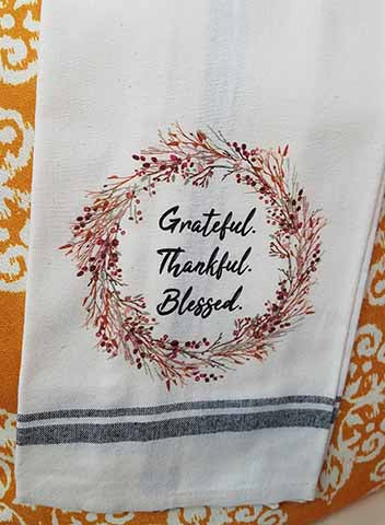 Grateful Thankful Blessed Kitchen Towel