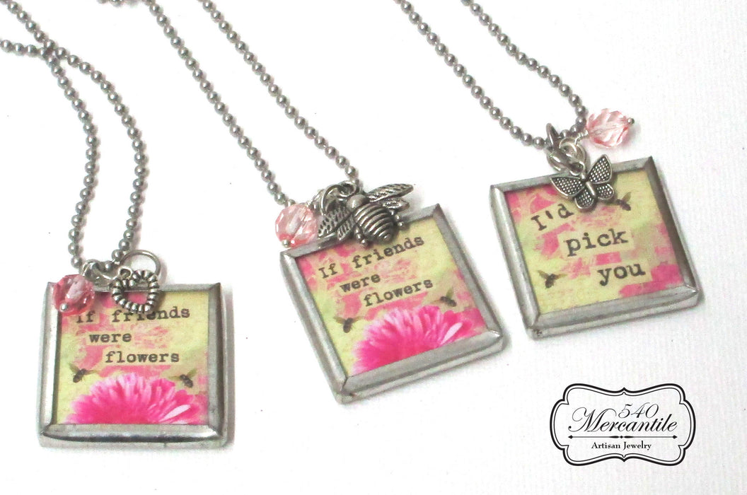 If Friends Were Flowers Charm Silver Necklace