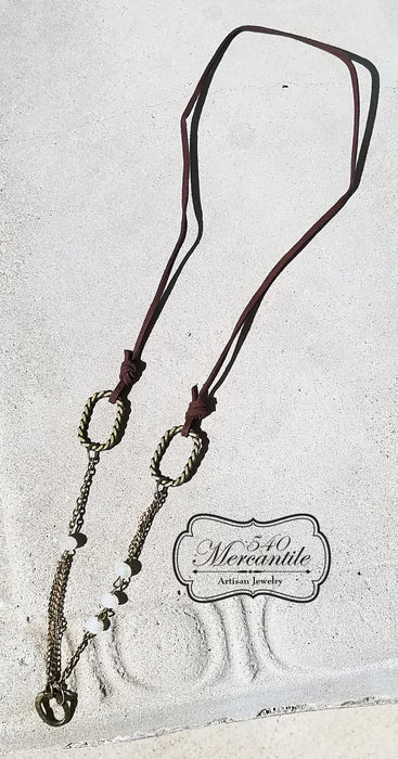 Leather and Bronze Beaded Charm Necklace