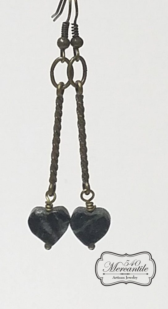 Marble Hearts Beaded Dangle Earrings