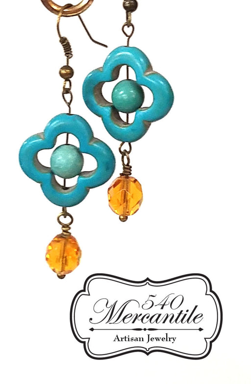 Beaded Quad & Amber Dangle Earrings