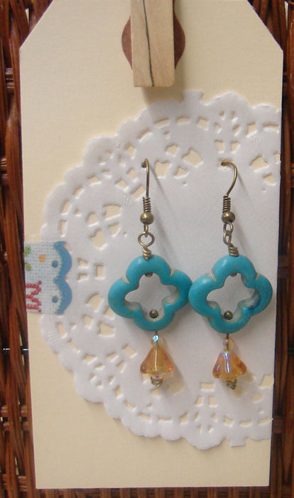 Quad and Amber Lily Dangle Beaded Earrings