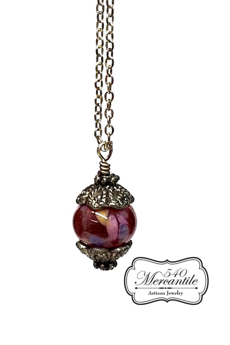 Red Purple Lampwork Bead with Sterling Chain Necklace
